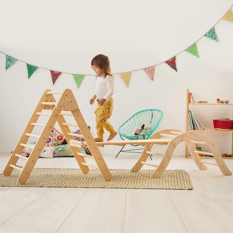 XIHAToy-échelle d'escalade triangulaire avec cadre en bois pour enfants, jouet, équipement de jeu d'intérieur, gymnastique pour enfants - 2