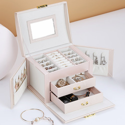 2020 New Luxury Three-tier Storage Jewelry Box With Mirror Portable Silk Thread Storage Box Stud Earrings Ring Jewelry Box