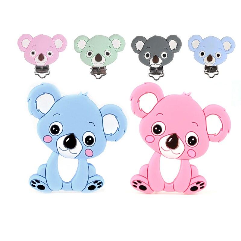 TYTY.HU Koala Silicone Baby Teethers Rodents Silicone Koala Clip Pendant DIY Mordedor Nursing Baby Teething Toy