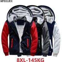 winter men thick warm jackets Sweatshirt hooded fleece high street patchwork hoodies large size big 7XL 8XL cheap Low price coat