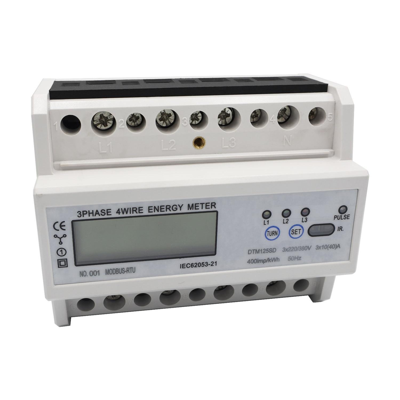 Multifonctionnel 3 phases 4 fils électronique KWh mètre DIN-Rail compteur d'énergie moniteur de consommation d'énergie avec écran LCD DTM125SD