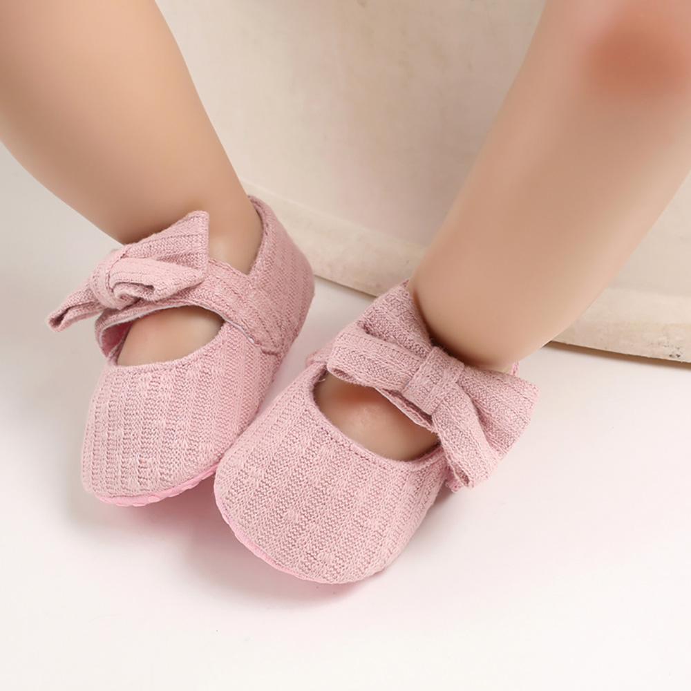 Summer Solid Colour Baby Girl Shoes Newborn Infant First Walker Shoes Bowknot Soft Sole Prewalker Sneakers Casual Shoes 18M D30