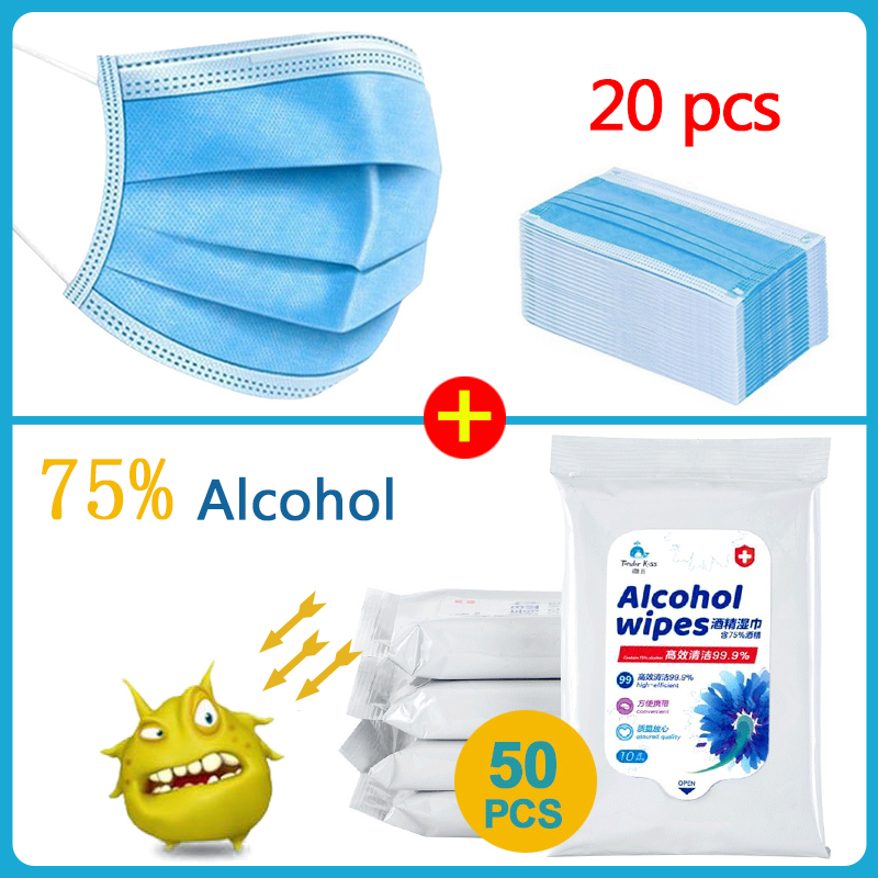 50pcs Box Disinfectant Wipes Alcohol Wipes Alcohol /Hot Sale 3-layer Mask 20pcs Face Mouth Masks First Aid Cleaning Tissue