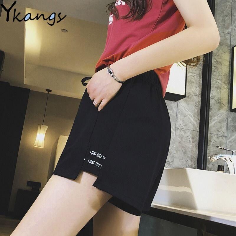 Summer Shorts For Women Letter Print Short Elastic High Waist Shorts Running Korean Style Streetwear Sport Shorts Femme Casual