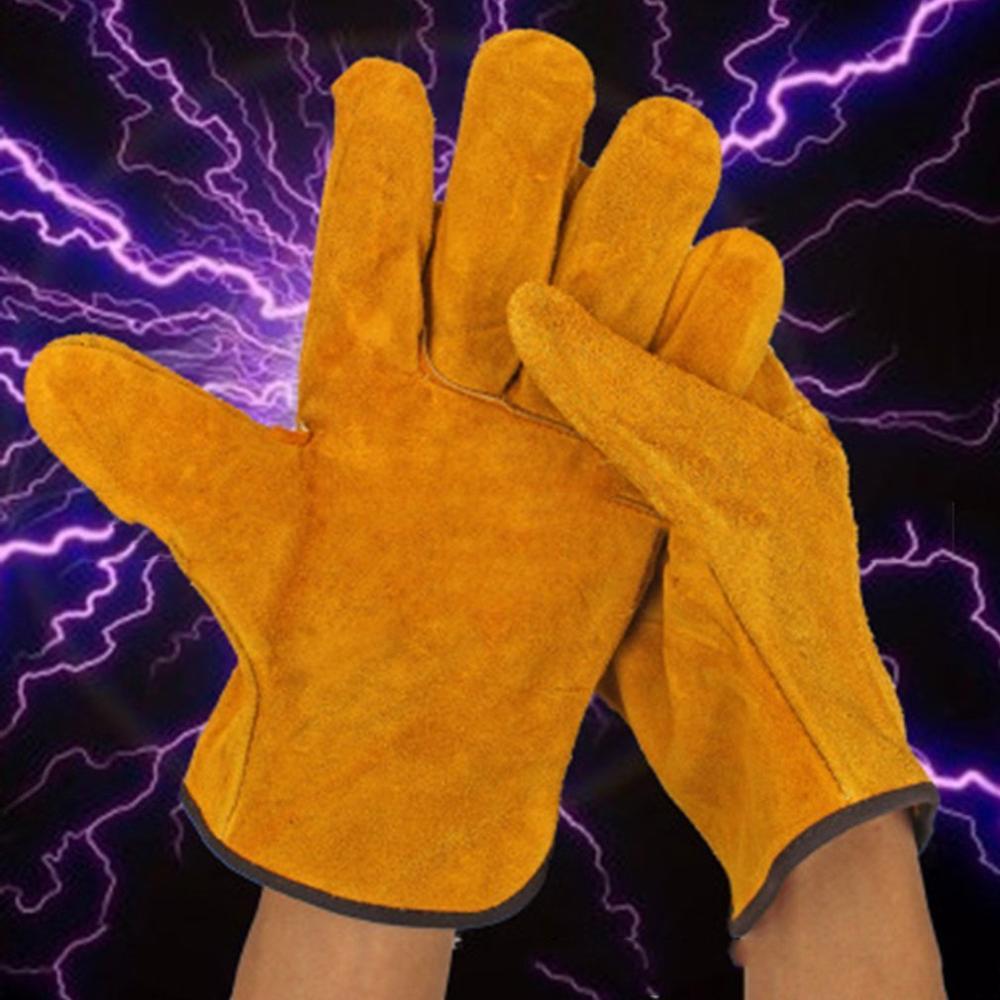 Рабочие перчатки 1 пар/уп. огнеупорные перчатки сварщика из коровьей кожи анти-нагрев рабочие защитные перчатки для сварки металлические
