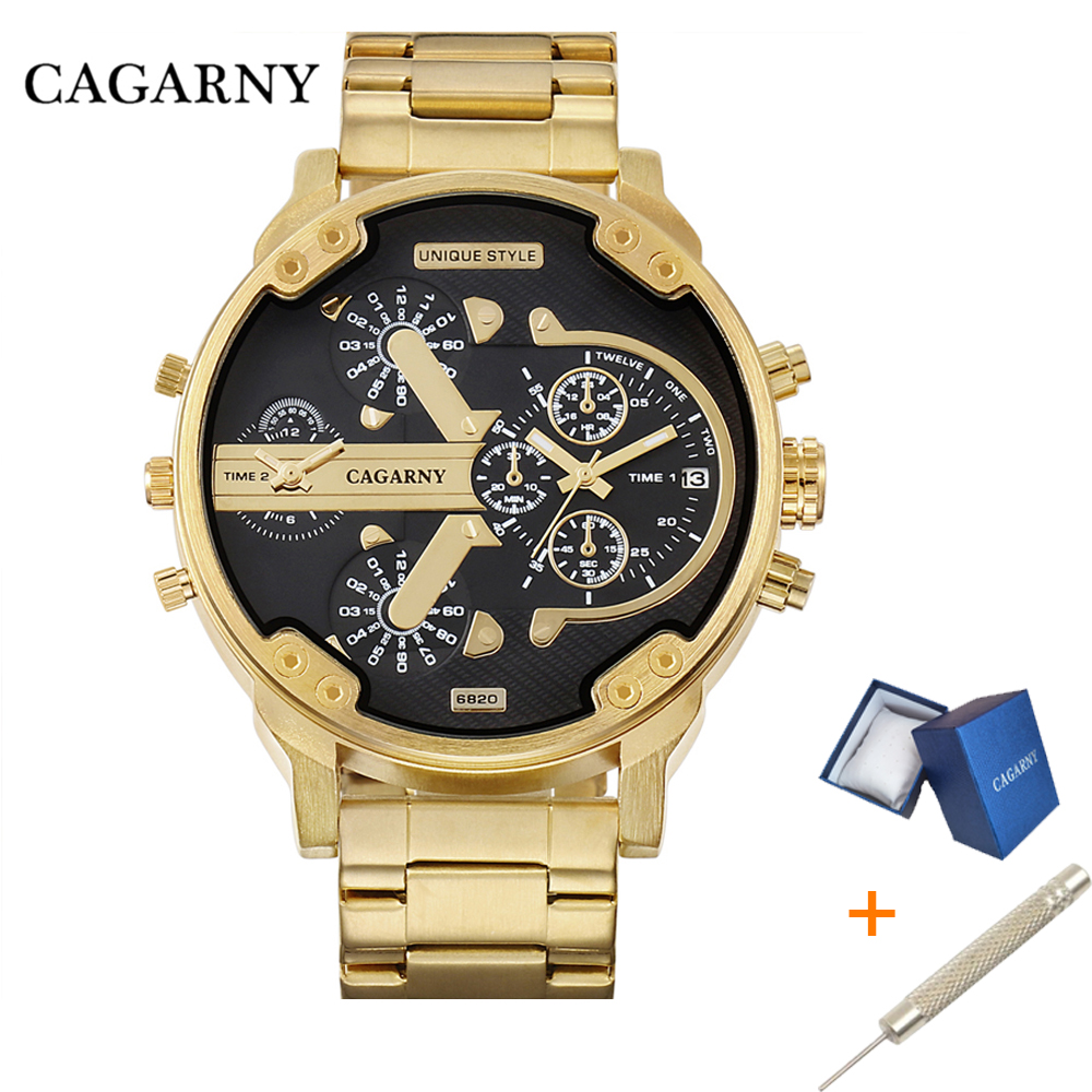 Cagarny Dual Display Luxury Watch Men Sport Quartz Clock Mens Watches Dropship Gold Steel Wrist Watch Military Relogio Masculino