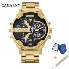 Cagarny Dual Display Luxury Watch Men Sport Quartz Clock