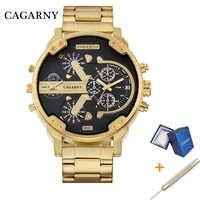 Cagarny dupla exibição relógio de luxo dos homens do esporte relógio de quartzo dos homens relógios dropship aço ouro relógio de pulso militar relogio masculino