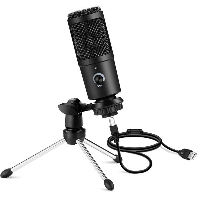 Professional USB Computer Microphone Condenser Plug&Play Metal Gaming Streaming Recording singing Mic For PS4 Mac Windows Laptop