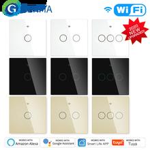 Nieuwe Verbeterde Wifi Smart RF433 Touch Schakelaar 2/3 Manier Smart Leven/Tuya App Controle, alexa Google Thuis Voice Control 1/2/3 Gang