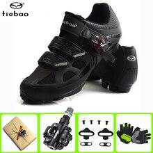 цена на Tiebao Pro Bicycle Cycling Shoes sapatilha ciclismo MTB Mountain Bike Self-Locking Men Women Sole Athletic Riding SPD Shoes