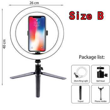 10 Inch Led Ring Light with Tripod Rim Ringlight Selfie Photo Round Ring Lamp Right Light for Smartphone Photography Shooting 14
