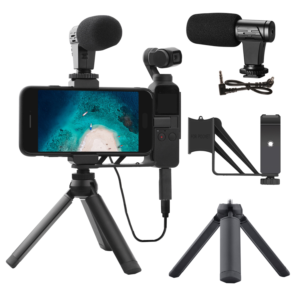 3.5mm Microphone Mic For DJI OSMO Pocket Stabilizer Audio Adapter Connector Phone Mount Holder Desktop Tripod For Vlogging Live