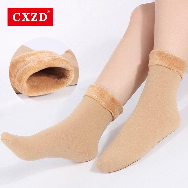 CXZD Winter Warm Stylish Black Long High 2 Color Solid Short Thick Socks Women Plus Velvet Cotton Elastic For Lady Girl Christma