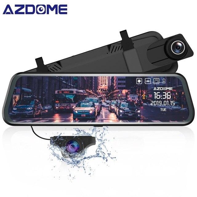 Azdome pg02 córrego media adas carro dvr 1080p visão noturna câmera gps lente dupla 1080p câmera retrovisor grande angular 24h modo de estacionamento
