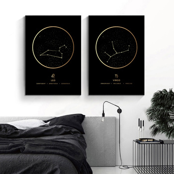 Constellation Fashion Poster Zodiac Astronomy Wall Art Nursery Print Canvas Painting Nordic Kid Decoration Picture Home Decor 1