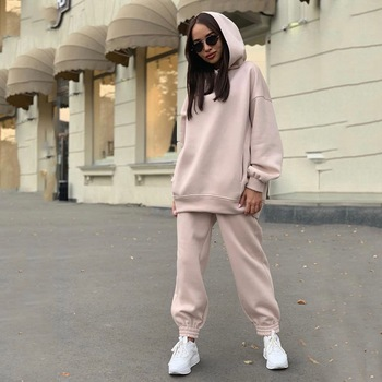 Two Piece Casual Fleece Tracksuit Women's Sets Oversized Hooded Long Sleeve Women Hoodie Suit Winter Solid Sport Pants Lady Set image