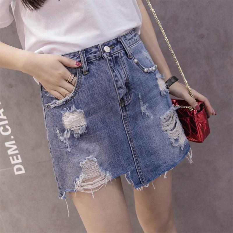 2018 Spring New Style Short Skirt Irregular Divided Skirt Korean-style A- Line With Holes Skirt Women's Summer Adult Half-length