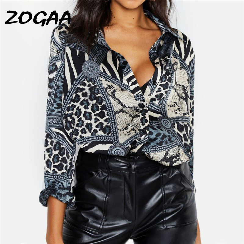 ZOGAA Chiffon Blouse Women 2019 Leopard Snake Chain Print Vintage Blouses Casual Office Shirt Plus Size Ladies Tops Blusas Mujer