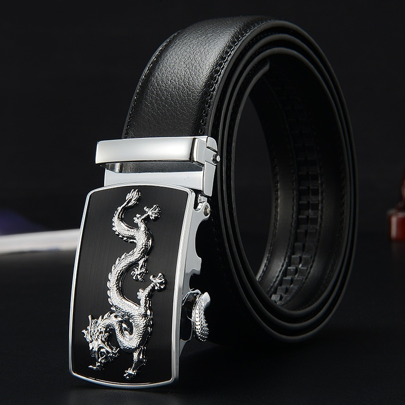 Ratchet Belt Fashion Men's Leather Belt  Automatic Alloy Buckle Gold Silver Dragon Simple Style Suitable For Business  Leisure