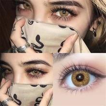 UYAAI 2 unids/par de lentes de contacto de Color miopía póngase en contacto con lentes de Color ojos lentes para los ojos azules con lentes dioptrías anual cosméticos
