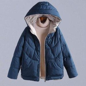 Image 1 - Sonbahar kış sıcak kalın mont kadın ceketler yeni moda kapüşonlu rahat pamuk Parka kadın kabanlar palto P130