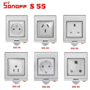 SONOFF S55 Waterproof Wifi Smart Power Socket US/UK/DE/FR/AU/ZA Plug Timer Outdoor APP/Vocie Remote Control Work
