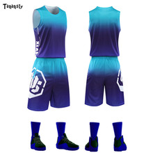 цена на Adult Throwback Basketball Jerseys Set college Men Training Basketball Uniform Shirts Shorts Suit Kids Gradient Color Sportswear