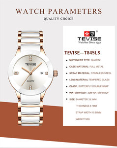 Image 3 - Femmes de luxe montres TEVISE haut à la mode marque acier inoxydable montre étanche femme robe Quartz montres Relogio Feminino