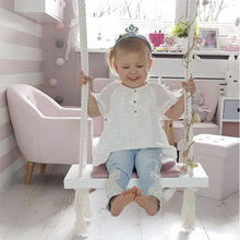 Baby Swing Chair Hanging Swings Set Rocking Solid Wood Seat with Cushion Safety Baby Indoor Baby Room Decor Furniture Children