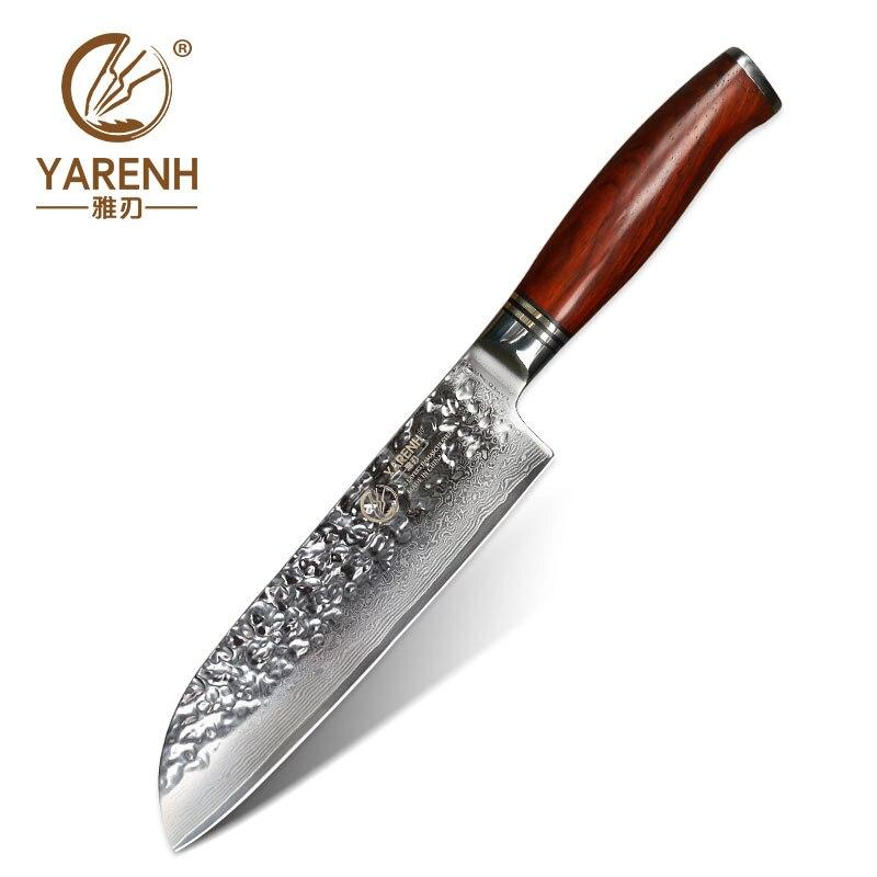 Ev ve Bahçe'ten Mutfak Bıçakları'de YARENH 7 inç Santoku şef bıçağı japon VG10 fileto bıçağı şam çelik sebze bıçağı en iyi sharp profesyonel mutfak bıçağı'da  Grup 1