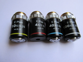 195 flat field infinity chromatic aberration objective lens 4X10X40X100X microscope professional objective lens