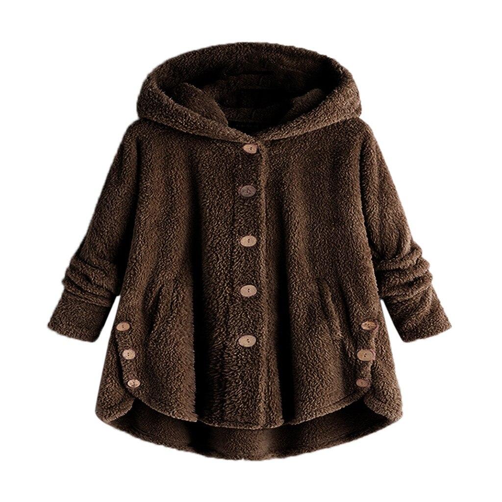 Newly Design Women Girls Warm Jackets Coat Single Breasted Loose Hoody Coats Woman Soft Fleece Slouchy Winter Coat