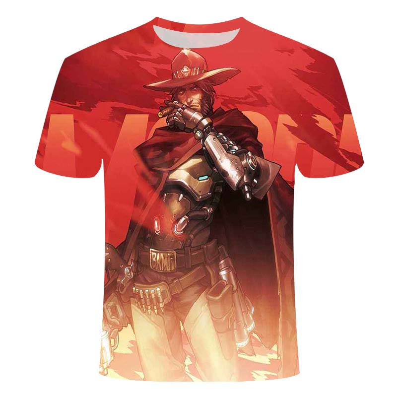 2021Overwatch Game Logo Gamer Gaming Tshirt 3D Over Short-Sleeve T Shirts Gaming Top Blizzard Overwatch Video Game Characters 4