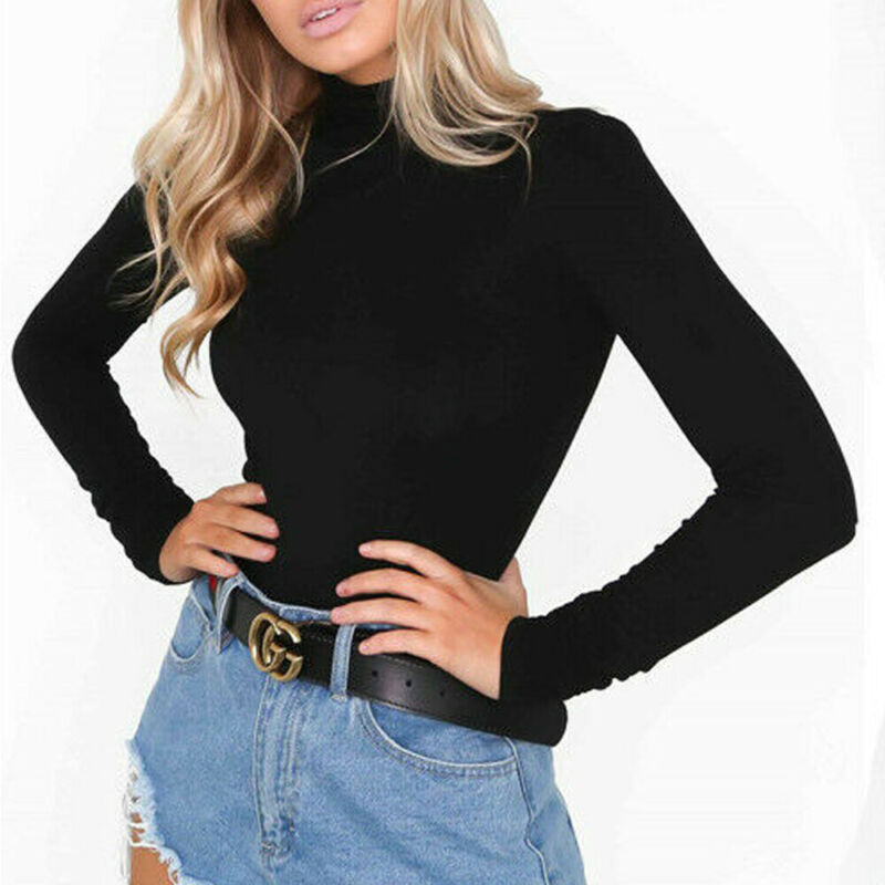 Women Bodysuits Long Sleeve Bodycon Bodysuits Black White Casual T Shirts Turtle Neck Tops 2020 Spring Autumn Female Blouses