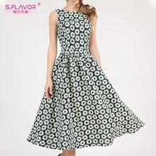 S.FLAVOR 여성 클래식 레트로 민소매 미디 드레스 패션 데이지 인쇄 드레스 슬림 빈티지 여성 의류