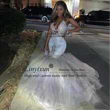 2020 Sparkly Silver Sexy V-Neck Mermaid Prom Dresses Reflective Spaghetti Straps African Long Formal Evening Gowns Custom Made(China)