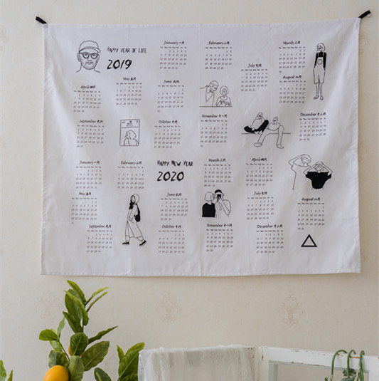 Big Size 2019 And 2020 Calendar Fabric Printed Wall Calendar Yearly Diary Study Planner Advent Calendar Cloth Wall Hanging Deco