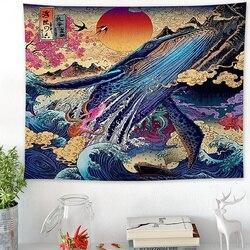 3D гобелен С закатом океанских волн, японский гобелен для комнаты, морской Кит, домашний декор, настенное украшение, 3 размера
