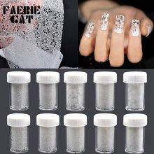 1 бутылка очаровательной фольги для ногтей с белым кружевом