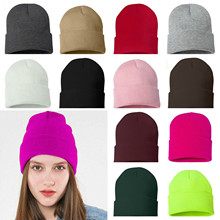Hat Skull Women Solid Casual Ski-Hat Jersey Beanie Cuff Korean-Version And Winter Keep-Warm