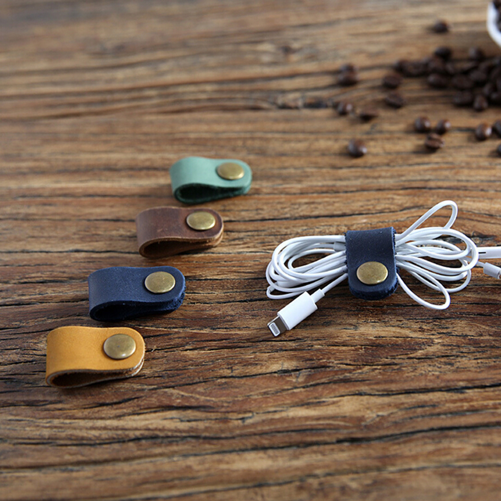 1PCS 8*2cm Headset Earphone Wire Portable USB Cable Cord Leather Winder Headphone Case Korean Desk Manager