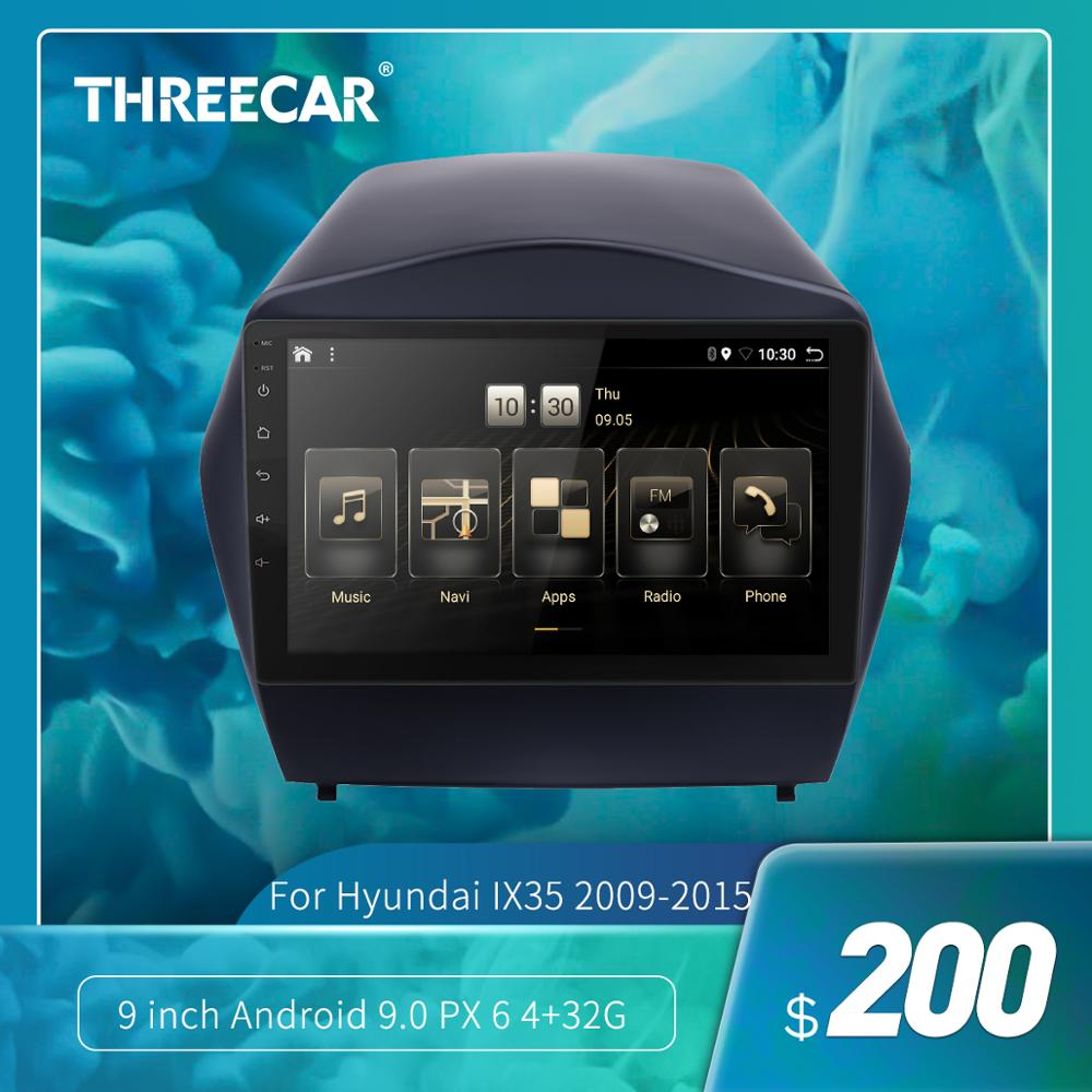Threecar <font><b>2din</b></font> Android 9.0 Ouad Core PX6 Car Radio Stereo for Hyundai IX35 2009-2015 GPS Navi Audio Video Player Wifi HDMI DAB + image