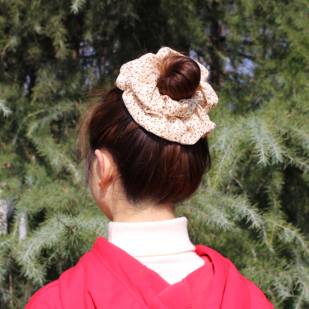 New Super Huge Size Flower Dots Leaves Leopard Print Chiffon Hair Scrunchy Women Large Wide Hair Bands To Hold The Heavy Bun