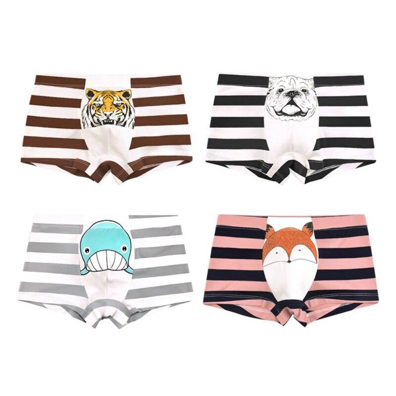 1 Piece Infnat Underwear Cartoon Children\'s Shorts Panties For Baby Boy Boxers Stripes Teenager Underpants 2-10T Boys