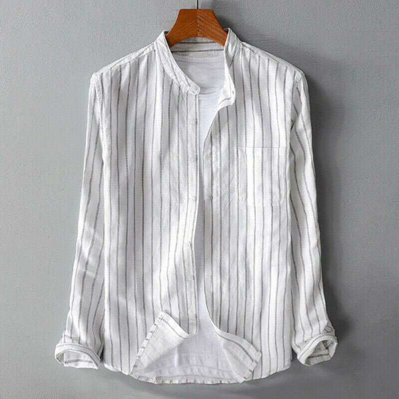Mens Vintage Striped Shirt Grandad Collarless Button Down Autumn Causal Top Tee