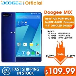 DOOGEE MIX 4GB + 64GB بدون إطار الهاتف الذكي كاميرا مزدوجة 5.5 ''AMOLED MTK Helio P25 ثماني النواة الهواتف المحمولة