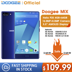 DOOGEE MIX 4GB+64GB bezel-less Smartphone Dual Camera 5.5'' AMOLED MTK Helio P25 Octa Core mobile phones