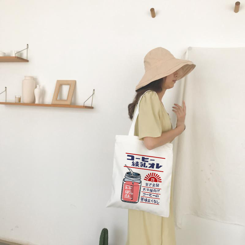 Women Canvas Shoulder Tote Bag Chic Strawberry Printed Shopping Bags Female Handbag Reusable Shopper Bag Tote Bag