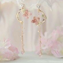 MENGJIQIAO-pendientes colgantes largos de Metal y flor rosa para mujer y niña, aretes minimalistas, joyería para mujer